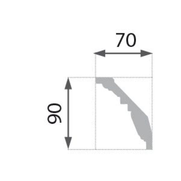 B-24 Beige Profillist mønster 70x90mm