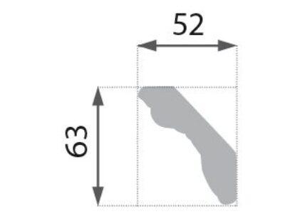 B-35 G Profillist mønster 52x63mm  Gyllen.