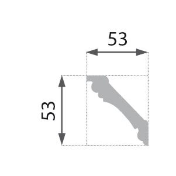 B-6 S Profillist mønster 53x53mm  Sølv