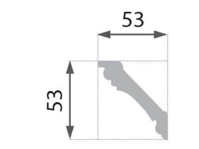 B-6 G Profillist mønster 53x53mm  Gyllen