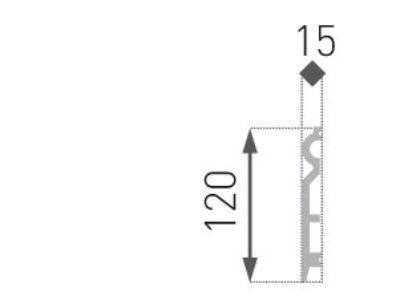 Gulvlist hard HF-2. 15x120mm INTERO kollesjon.