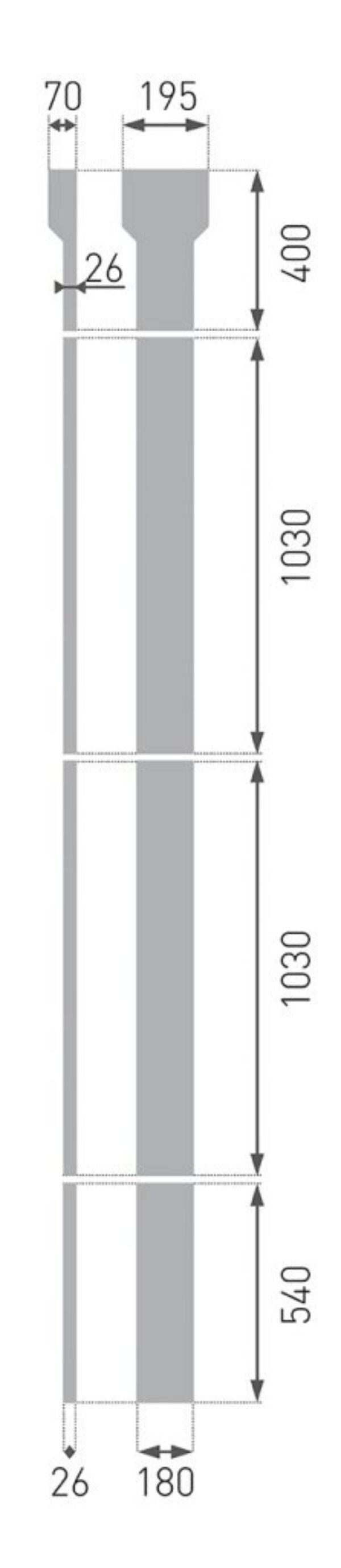 Flat søjle PL-03 195x3000x70